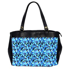 Turquoise Blue Abstract Flower Pattern Office Handbags (2 Sides)