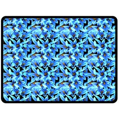 Turquoise Blue Abstract Flower Pattern Fleece Blanket (large)  by Costasonlineshop