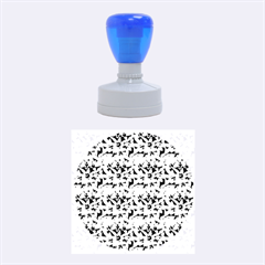 Turquoise Blue Abstract Flower Pattern Rubber Round Stamps (medium)