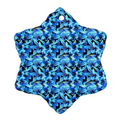 Turquoise Blue Abstract Flower Pattern Snowflake Ornament (2 Side)