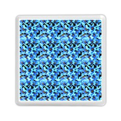Turquoise Blue Abstract Flower Pattern Memory Card Reader (square)  by Costasonlineshop