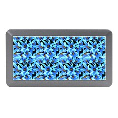 Turquoise Blue Abstract Flower Pattern Memory Card Reader (mini) by Costasonlineshop