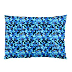 Turquoise Blue Abstract Flower Pattern Pillow Cases (two Sides) by Costasonlineshop