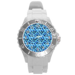 Turquoise Blue Abstract Flower Pattern Round Plastic Sport Watch (l) by Costasonlineshop