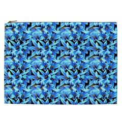 Turquoise Blue Abstract Flower Pattern Cosmetic Bag (xxl)  by Costasonlineshop