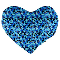 Turquoise Blue Abstract Flower Pattern Large 19  Premium Heart Shape Cushions