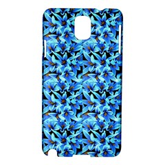 Turquoise Blue Abstract Flower Pattern Samsung Galaxy Note 3 N9005 Hardshell Case by Costasonlineshop