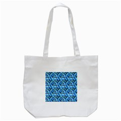 Turquoise Blue Abstract Flower Pattern Tote Bag (white)  by Costasonlineshop