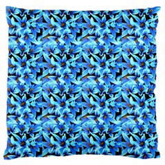 Turquoise Blue Abstract Flower Pattern Large Flano Cushion Cases (one Side)  by Costasonlineshop
