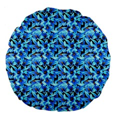 Turquoise Blue Abstract Flower Pattern Large 18  Premium Flano Round Cushions by Costasonlineshop
