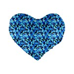 Turquoise Blue Abstract Flower Pattern Standard 16  Premium Flano Heart Shape Cushions Front