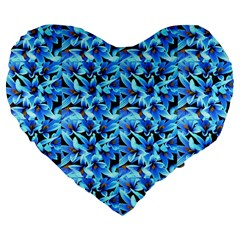 Turquoise Blue Abstract Flower Pattern Large 19  Premium Flano Heart Shape Cushions by Costasonlineshop