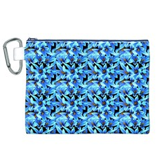 Turquoise Blue Abstract Flower Pattern Canvas Cosmetic Bag (xl)  by Costasonlineshop