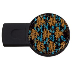 Blue Brown Texture			usb Flash Drive Round (2 Gb) by LalyLauraFLM