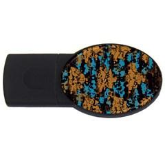 Blue Brown Textureusb Flash Drive Oval (2 Gb) by LalyLauraFLM