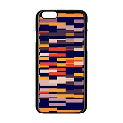 Rectangles In Retro Colors			apple Iphone 6/6s Black Enamel Case by LalyLauraFLM