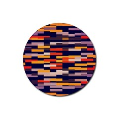 Rectangles In Retro Colors			rubber Round Coaster (4 Pack) by LalyLauraFLM
