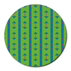 Arrows And Stripes Pattern			round Mousepad by LalyLauraFLM