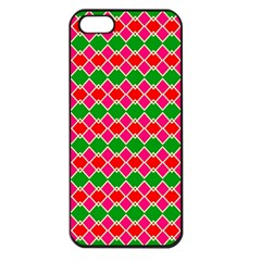 Red Pink Green Rhombus Pattern			apple Iphone 5 Seamless Case (black) by LalyLauraFLM