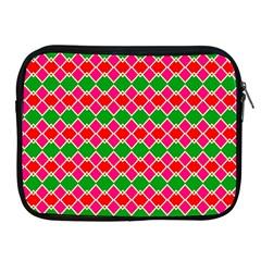 Red Pink Green Rhombus Patternapple Ipad 2/3/4 Zipper Case by LalyLauraFLM