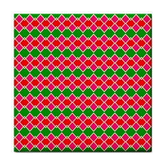 Red Pink Green Rhombus Pattern			tile Coaster by LalyLauraFLM