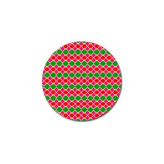 Red Pink Green Rhombus Pattern			golf Ball Marker (4 Pack) by LalyLauraFLM