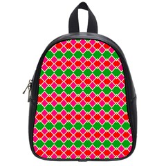 Red Pink Green Rhombus Patternschool Bag (small) by LalyLauraFLM