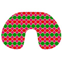 Red Pink Green Rhombus Pattern Travel Neck Pillow by LalyLauraFLM