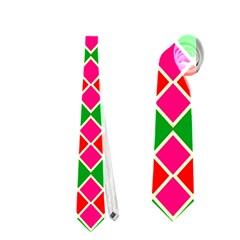Red Pink Green Rhombus Pattern Necktie by LalyLauraFLM