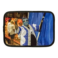 Painted Face Man At Inagural Parade Of Carnival In Montevideo Netbook Case (medium)  by dflcprints