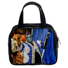 Painted Face Man At Inagural Parade Of Carnival In Montevideo Classic Handbags (2 Sides) by dflcprints