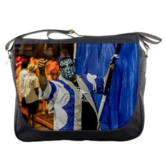 Painted Face Man At Inagural Parade Of Carnival In Montevideo Messenger Bags by dflcprints