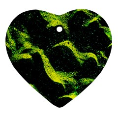 Green Northern Lights Heart Ornament (2 Sides)