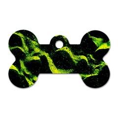 Green Northern Lights Dog Tag Bone (two Sides)