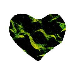 Green Northern Lights Standard 16  Premium Heart Shape Cushions