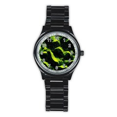 Green Northern Lights Stainless Steel Round Watches