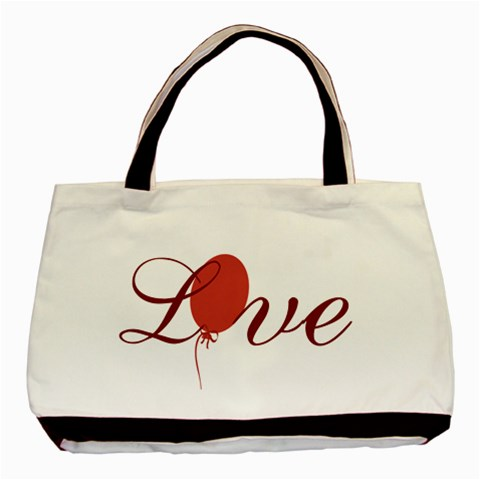 Red Love Balloon Valentine By Lucy   Basic Tote Bag   Zp5z3y5j5c6a   Www Artscow Com Front