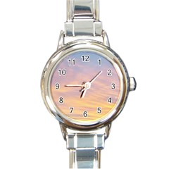Yellow Blue Pastel Sky Round Italian Charm Watches by Costasonlineshop