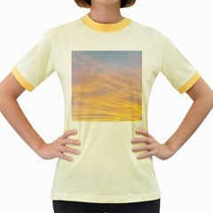 Yellow Blue Pastel Sky Women s Fitted Ringer T Shirts by Costasonlineshop