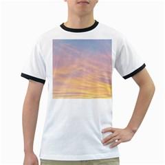 Yellow Blue Pastel Sky Ringer T Shirts by Costasonlineshop