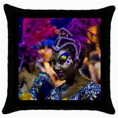 Costumed Attractive Dancer Woman At Carnival Parade Of Uruguay Throw Pillow Cases (black) by dflcprints