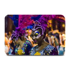 Costumed Attractive Dancer Woman At Carnival Parade Of Uruguay Plate Mats by dflcprints