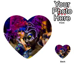 Costumed Attractive Dancer Woman At Carnival Parade Of Uruguay Multi Purpose Cards (heart)  by dflcprints