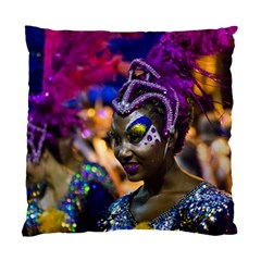 Costumed Attractive Dancer Woman At Carnival Parade Of Uruguay Standard Cushion Case (one Side)  by dflcprints