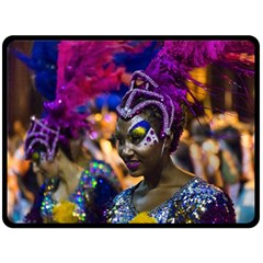 Costumed Attractive Dancer Woman At Carnival Parade Of Uruguay Fleece Blanket (large)  by dflcprints