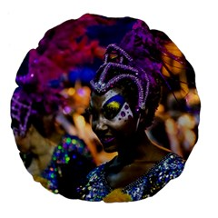 Costumed Attractive Dancer Woman At Carnival Parade Of Uruguay Large 18  Premium Flano Round Cushions by dflcprints