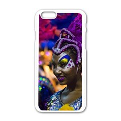 Costumed Attractive Dancer Woman At Carnival Parade Of Uruguay Apple Iphone 6/6s White Enamel Case by dflcprints