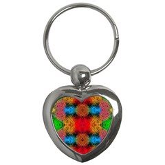 Colorful Goa   Painting Key Chains (heart)  by Costasonlineshop