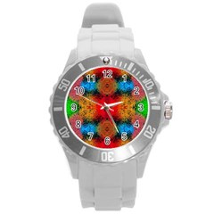 Colorful Goa   Painting Round Plastic Sport Watch (l) by Costasonlineshop