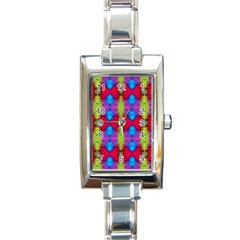 Colorful Painting Goa Pattern Rectangle Italian Charm Watches by Costasonlineshop